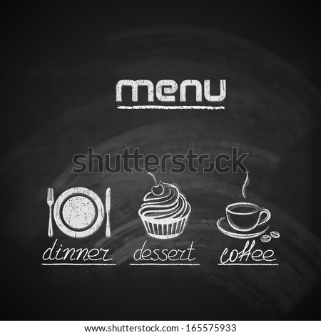 vintage chalkboard menu design with plate, fork and knife, cupcake and coffee cup - stock vector