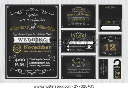 Vintage Chalkboard Wedding Invitations design sets include Invitation card, Save the date, RSVP card, Thank you card, Table number, Gift tags, Place cards, Respond card, Save the date door hanger - stock vector