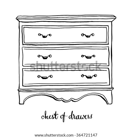 Vintage chest of drawers/ Vintage furniture/ Interior design elements/ Hand drawn ink sketch illustration isolated on white background - stock vector