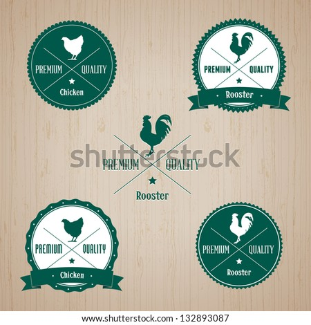 Vintage Chicken and Rooster Badge set | Editable EPS vector illustration - stock vector
