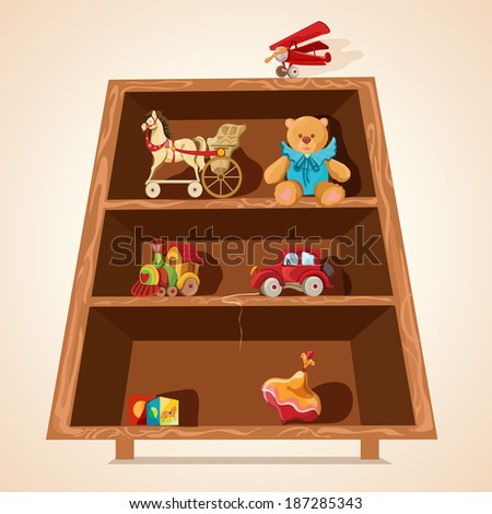Vintage children toys collection with horse teddy bear airplane car on wooden shelves print vector illustration - stock vector