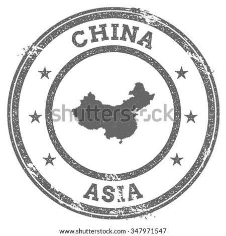 Vintage China stamp with continent name. Grunge rubber stamp map with Asia and China text, vector illustration - stock vector