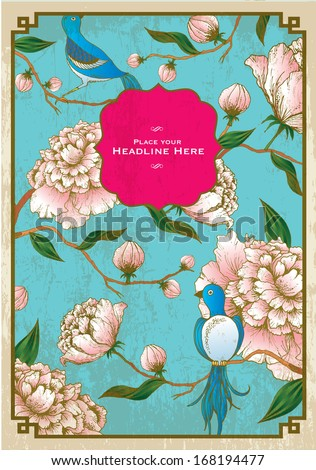 vintage chinese background of peony and birds template vector/illustration - stock vector