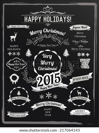 Vintage Christmas And Happy New Year Calligraphic Blackboard. Joyeux Noel is French for Happy Christmas - stock vector