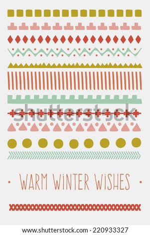 Vintage Christmas and New Year greeting card with cute winter ornament pattern. Vector illustration. Cay be used for winter hipster design, cards, posters and many other. - stock vector