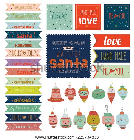 Vintage Christmas and New Year greeting stickers, labels, tags and ribbons with cute winter elements, icons, typography, greeting and wishes. Good for winter design cards or posters. - stock vector
