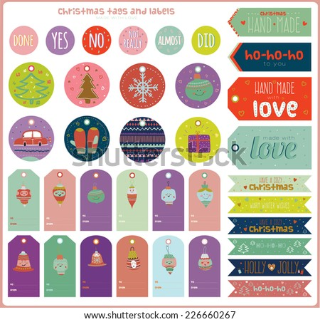 Vintage Christmas and New Year greeting stickers, labels, tags and ribbons with cute winter elements, icons, typography, greeting and wishes. Good for winter design cards or posters. Scrapbooking. - stock vector
