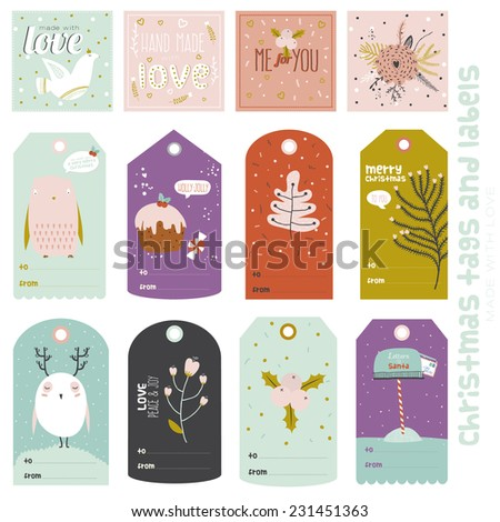 Vintage Christmas and New Year greeting stickers, labels, tags and ribbons with cute winter elements, typography, greeting and wishes. Perfect for wrapping and scrapbooking. - stock vector