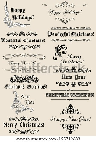 Vintage Christmas and New Year headers with calligraphic elements. Jpeg (bitmap) version also available in gallery - stock vector