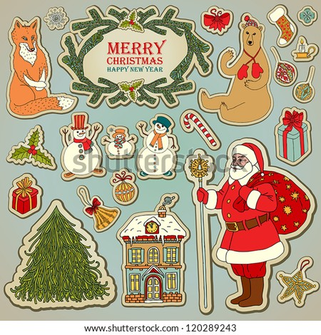 Vintage Christmas and New Year set, retro style Santa Claus, graphic Christmas tree, snowman, forest animals, holiday snowy house illustration, gifts, Christmas decorations tags for creative design. - stock vector