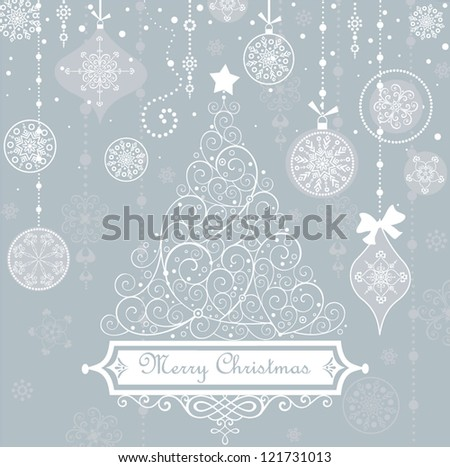 Vintage christmas blue card - stock vector