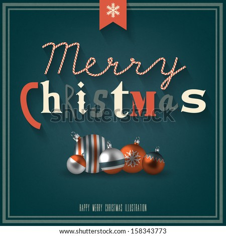 Vintage Christmas Card  - stock vector