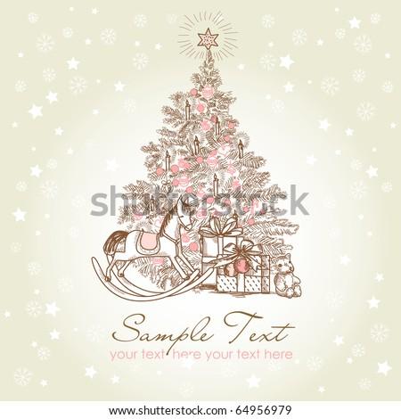 Vintage Christmas Card . Beautiful Christmas tree illustration - stock vector