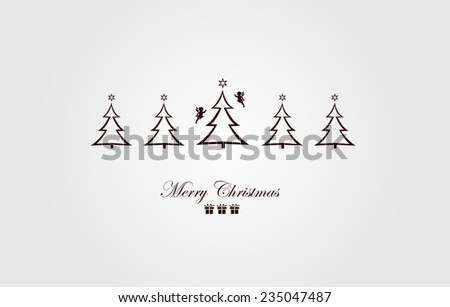 Vintage Christmas Card . Beautiful Christmas tree illustration. Vector - stock vector