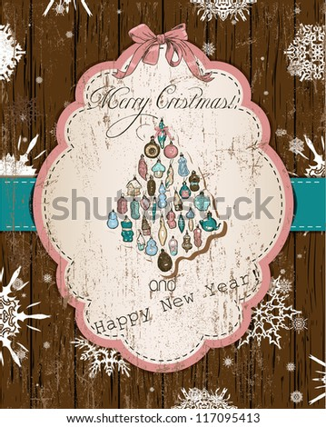 Vintage Christmas card, dark pastel.Vector illustration EPS10 - stock vector