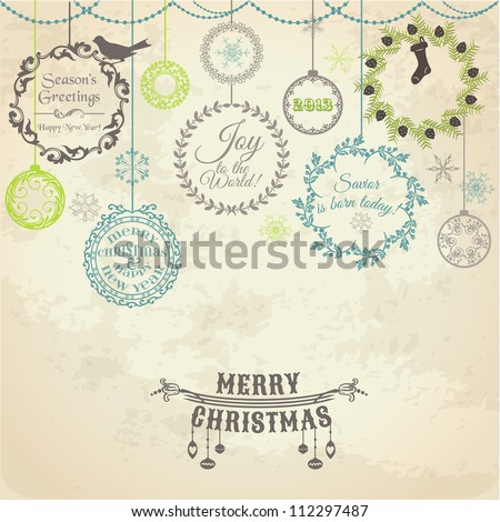 Vintage Christmas Card - for design and scrapbook - in vector - stock vector
