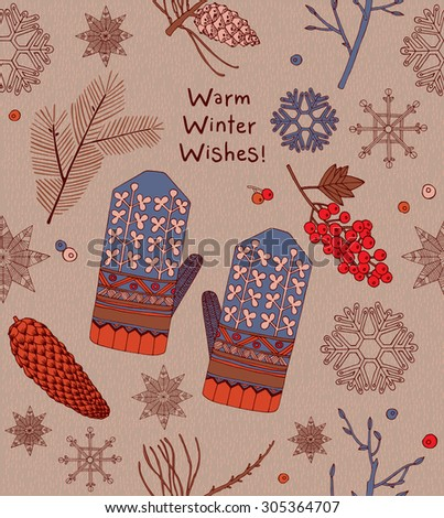 Vintage Christmas card, mittens, berries with text seamless pattern background.  - stock vector
