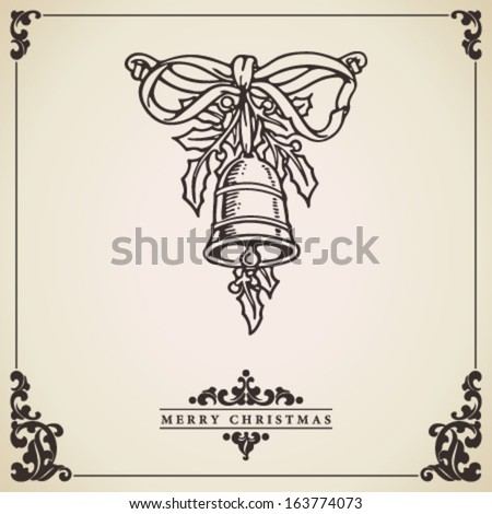 Vintage Christmas card vector. Bell with mistletoe and bow ornament on bordered, aged paper. - stock vector