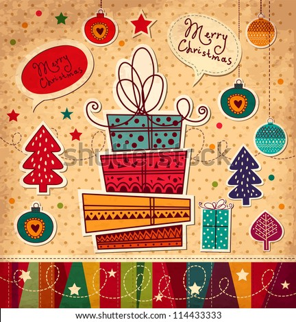 Vintage Christmas card with gift boxes - stock vector