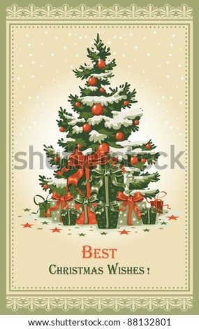 Vintage Christmas card with gifts and spruce in the snow - stock vector