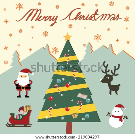 Vintage Christmas card with tree,santa Claus, snowman, deer., vector illustration.  - stock vector