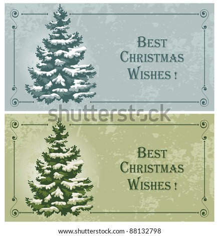 Vintage Christmas cards with spruce in the snow - stock vector