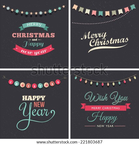 Vintage Christmas design with elements, chalkboard and light garland - stock vector