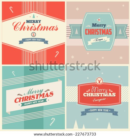 Vintage Christmas Elements Background With Typography - stock vector