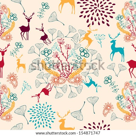 Vintage Christmas elements, reindeer and snowflakes seamless pattern background. EPS10 vector file organized in layers for easy editing. - stock vector