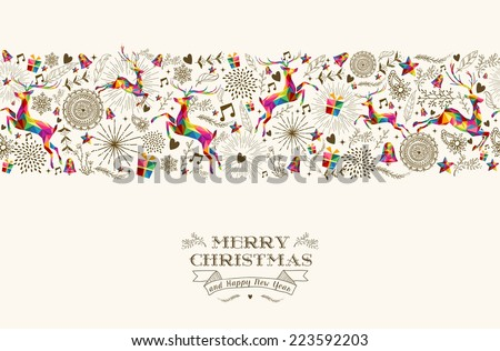Vintage Christmas elements, reindeer jumping with text seamless pattern background. EPS10 vector file organized in layers for easy editing. - stock vector