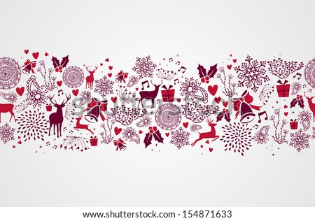 Vintage Christmas elements, reindeers and heart shapes seamless pattern background. EPS10 vector file organized in layers for easy editing. - stock vector