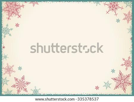 Vintage Christmas Frame - Illustration Vector illustration of Old-Styled Winter Background - stock vector