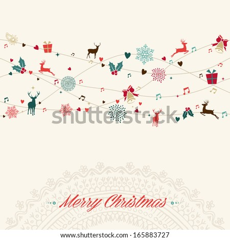 Vintage Christmas garland colors elements greeting card illustration. EPS10 vector file organized in layers for easy editing. - stock vector