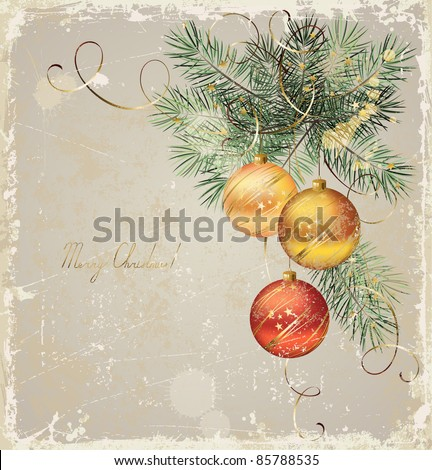 vintage  Christmas greeting-card with three evening balls - stock vector