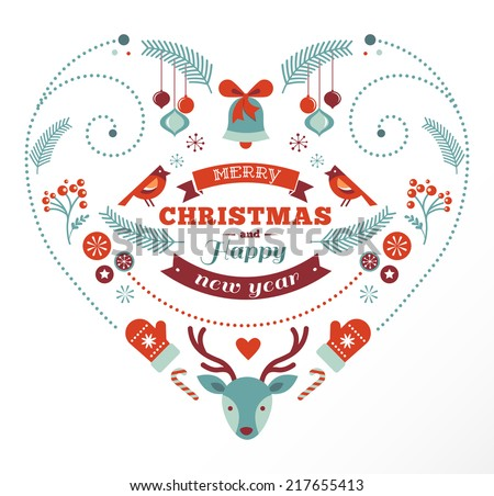 Vintage Christmas heart design with birds, elements, ribbons and deer - stock vector