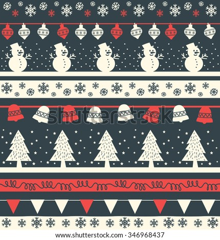 Vintage Christmas holiday seamless background with tree, bunting, snowman, snowflake and Christmas ball, suitable for fabric printing or knitting - stock vector