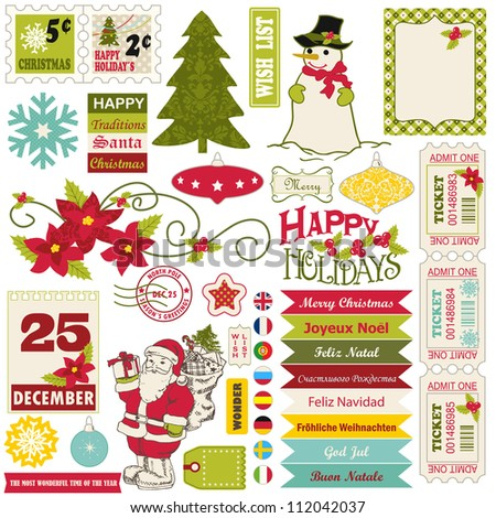 Vintage Christmas icons and decoration elements set. - stock vector