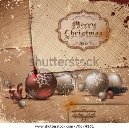 Vintage Christmas Illustration with grungy layered old papers. - stock vector
