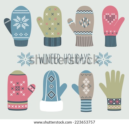 Vintage Christmas knitted mittens, winter set - stock vector