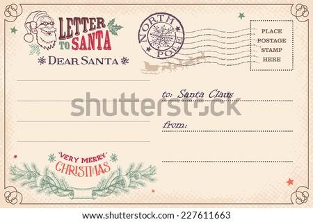 Vintage Christmas letter to Santa Claus wish list postcard - stock vector