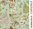 Vintage Christmas pattern - stock vector
