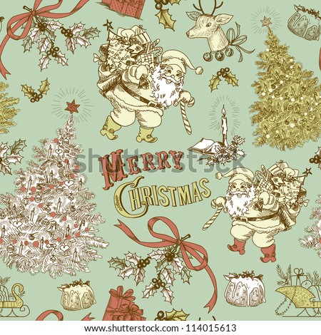 Vintage Christmas pattern - stock vector