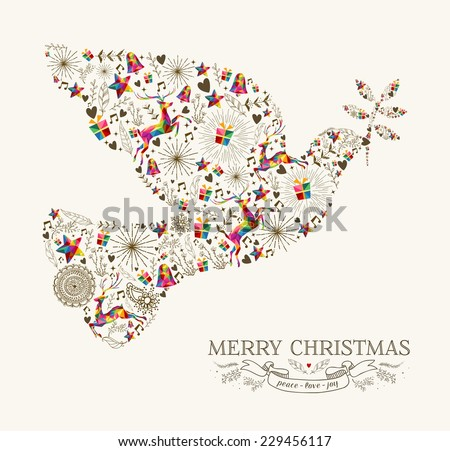 Vintage Christmas peace dove shape with colorful reindeer and retro label greeting card. EPS10 vector file organized in layers for easy editing. - stock vector