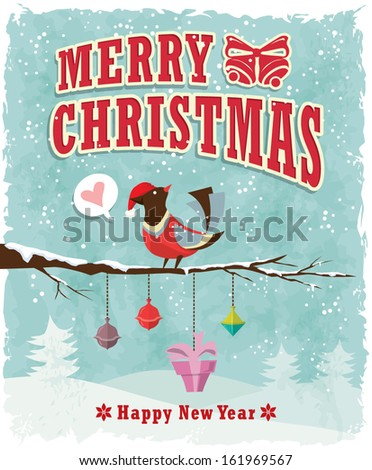Vintage Christmas poster design with bird & present - stock vector