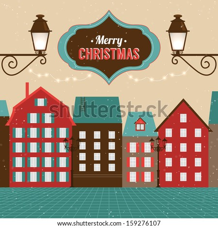 Vintage Christmas poster design with winter town. Vector illustration - stock vector