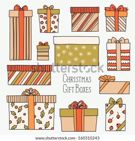 Vintage Christmas set with gift boxes - stock vector