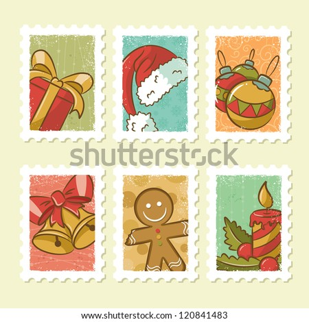 Vintage Christmas Stamps Collection - stock vector