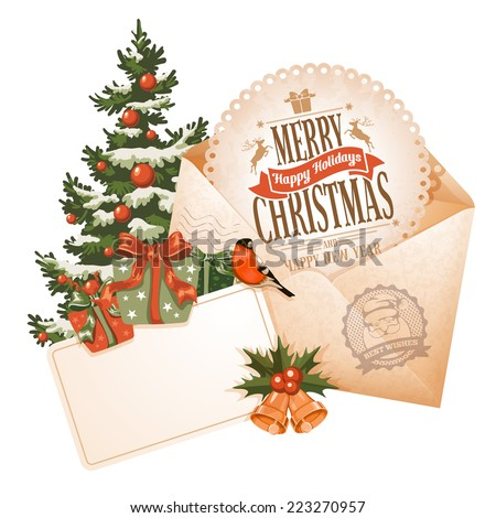 Vintage Christmas still life with envelope, greeting card and other winter holiday objects. Vector illustration isolated on white background. - stock vector