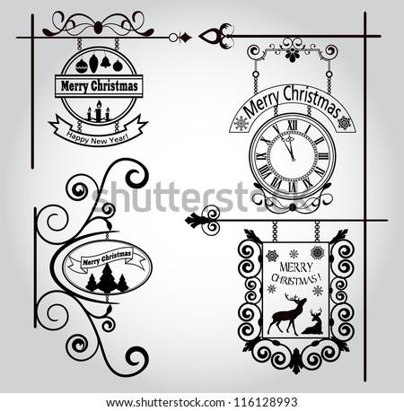 vintage christmas street signs - stock vector