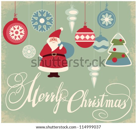 Vintage christmas toys - stock vector